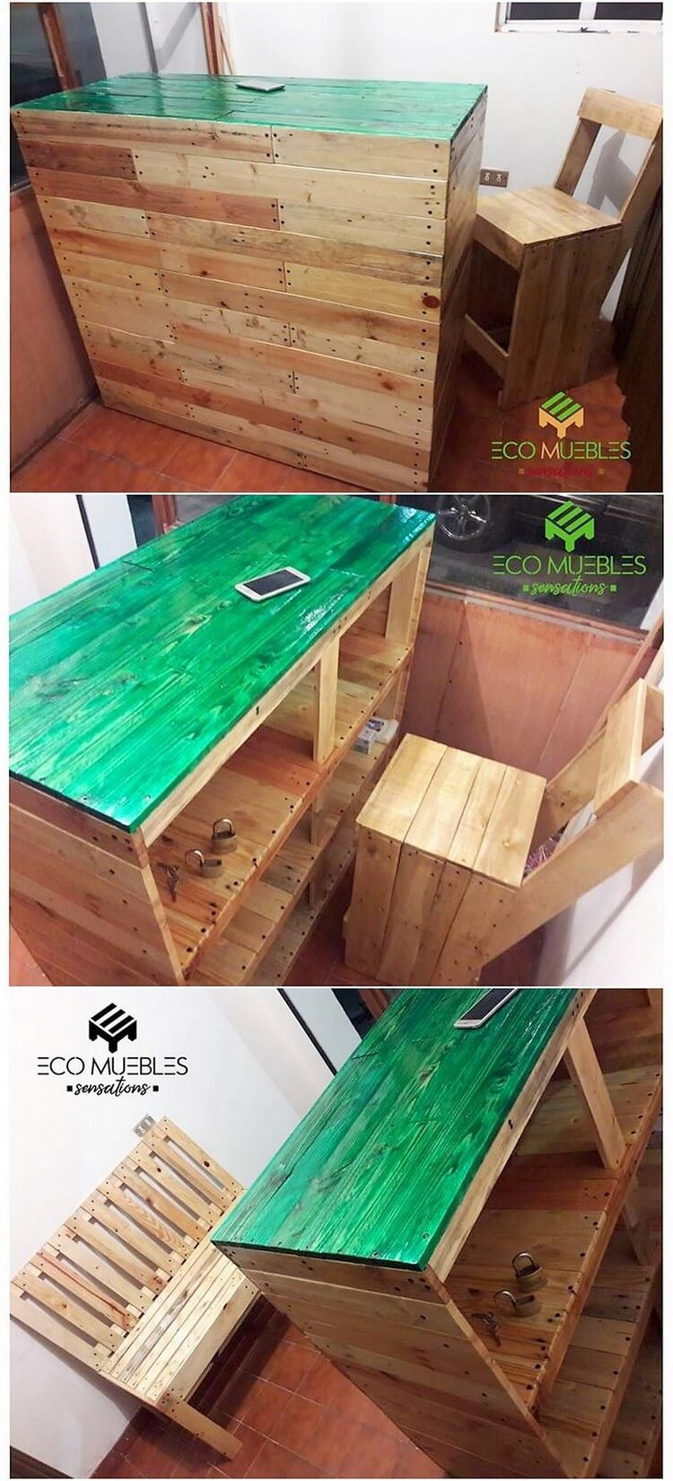 Pallet Office Desk Table and Chair