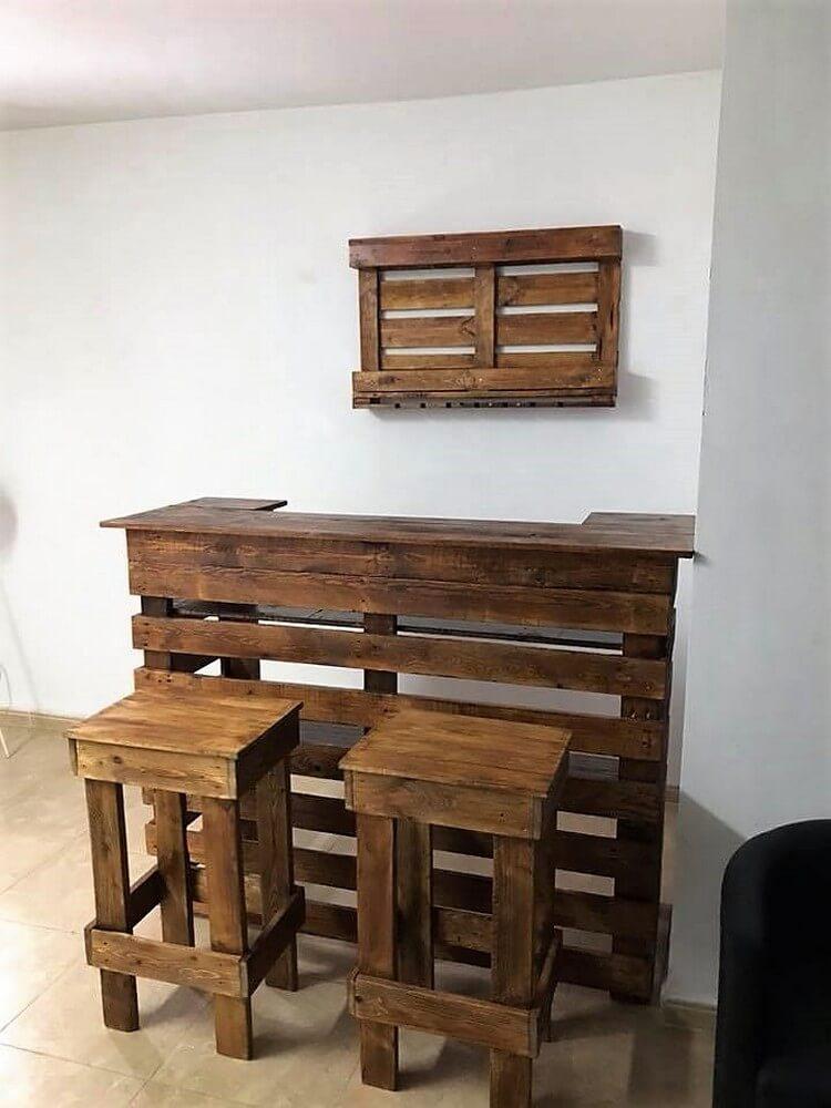 Wood Pallet Bar and Stools