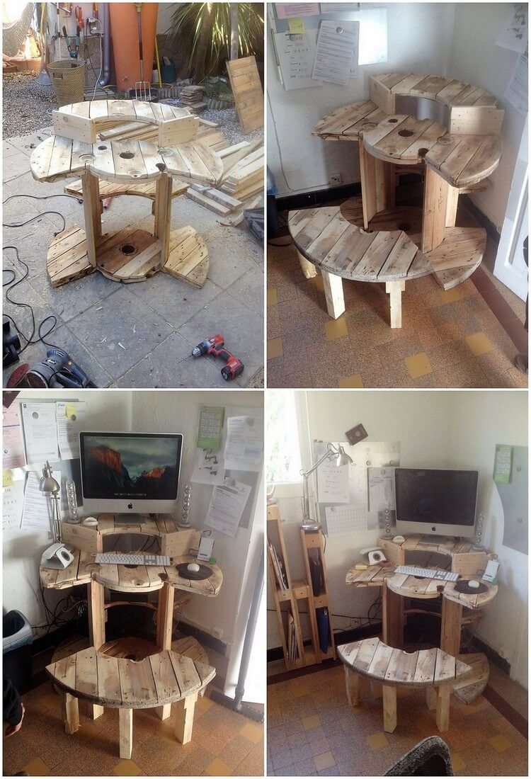 Pallet Computer or Office Table and Bench