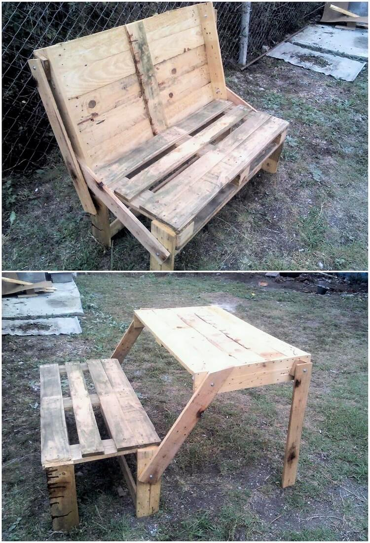 Pallet Folding Table with Bench