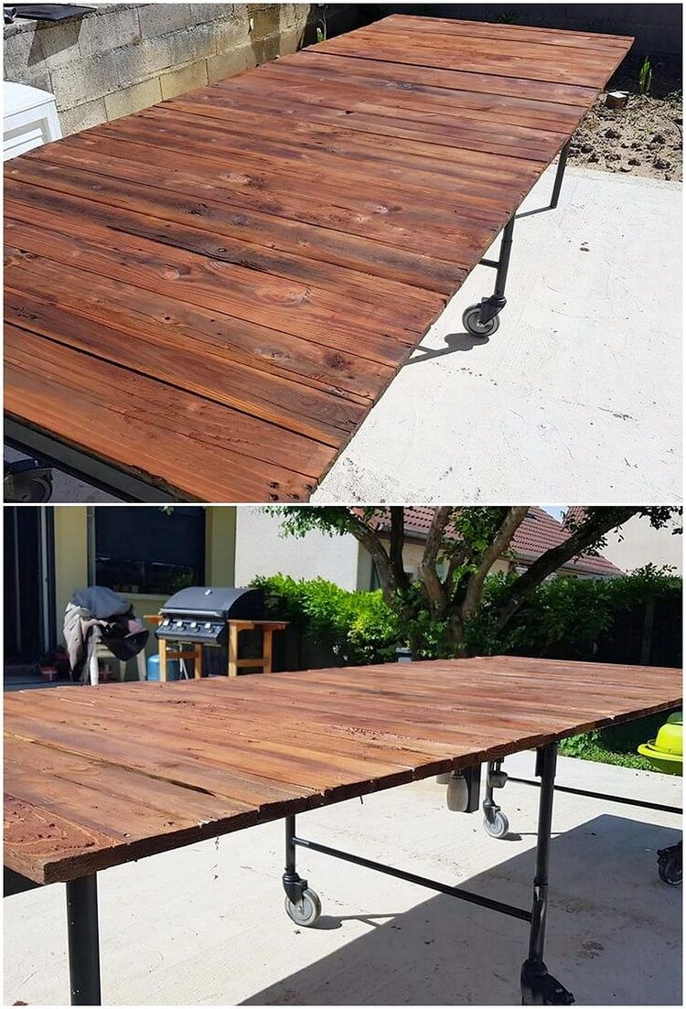 Pallet Table with Metal Feets
