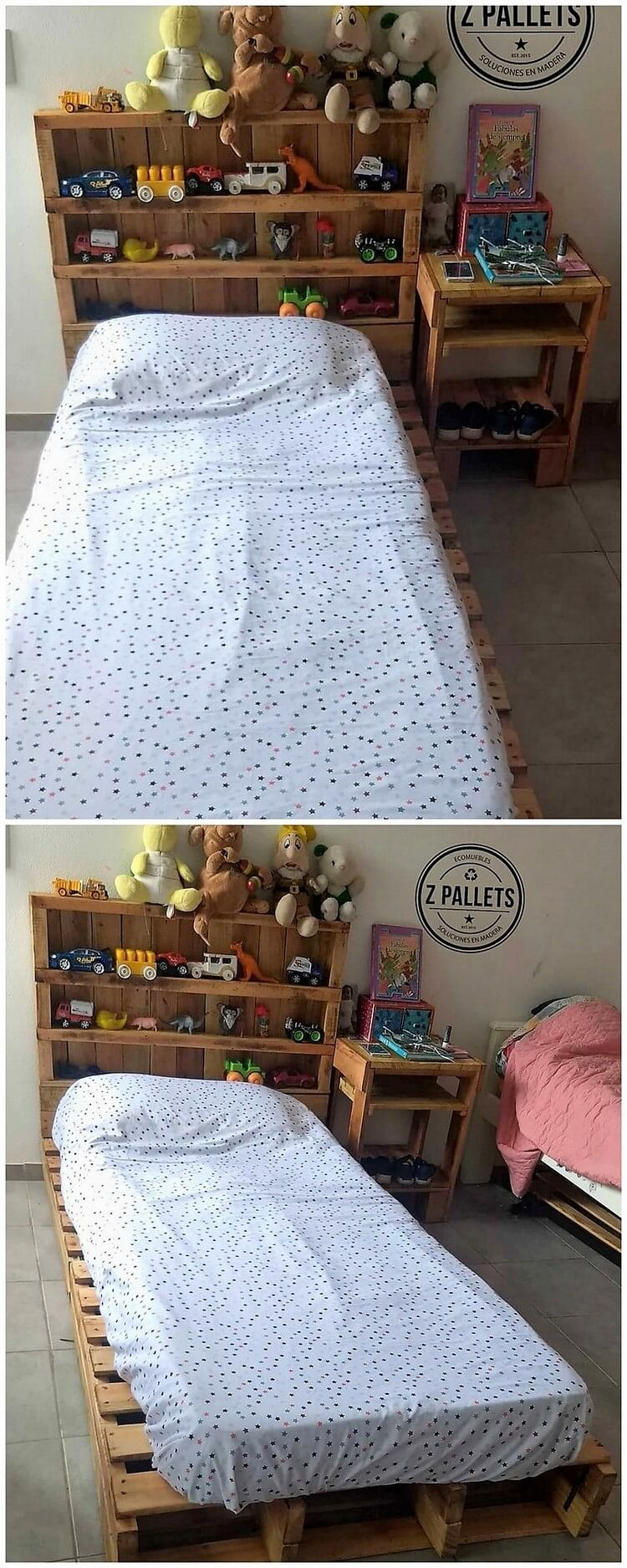 Pallet Kids Bed Headboard with Toy Storage