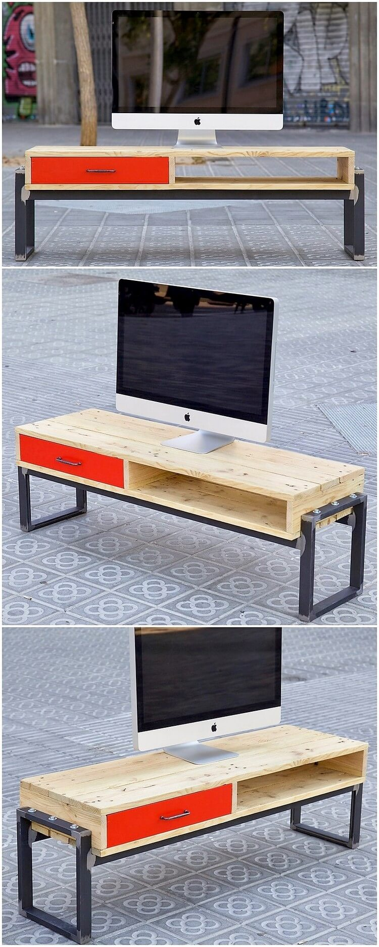 Pallet TV Stand with Drawers
