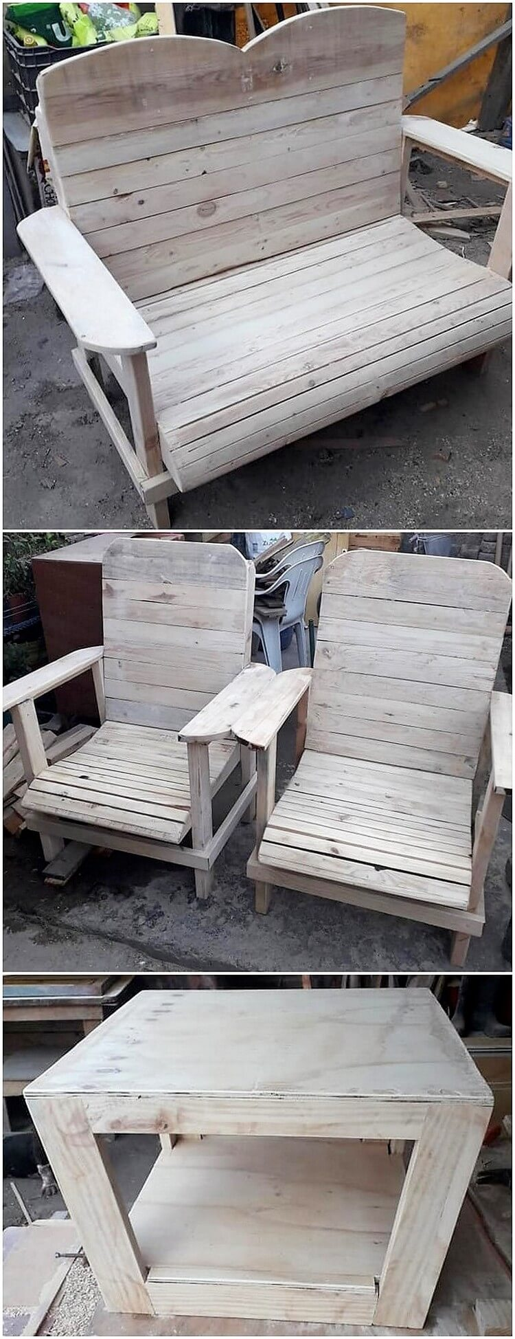 Pallet Bench Chairs and Table