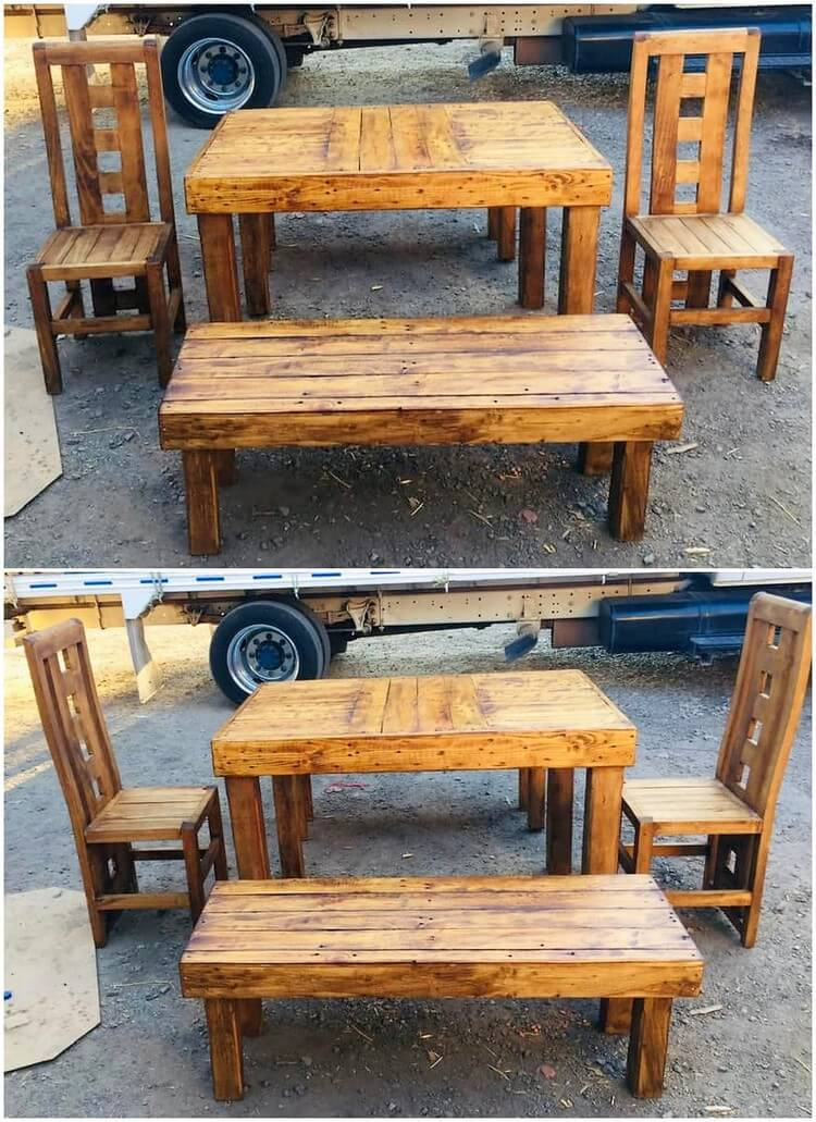 Pallet Chairs Table and Bench