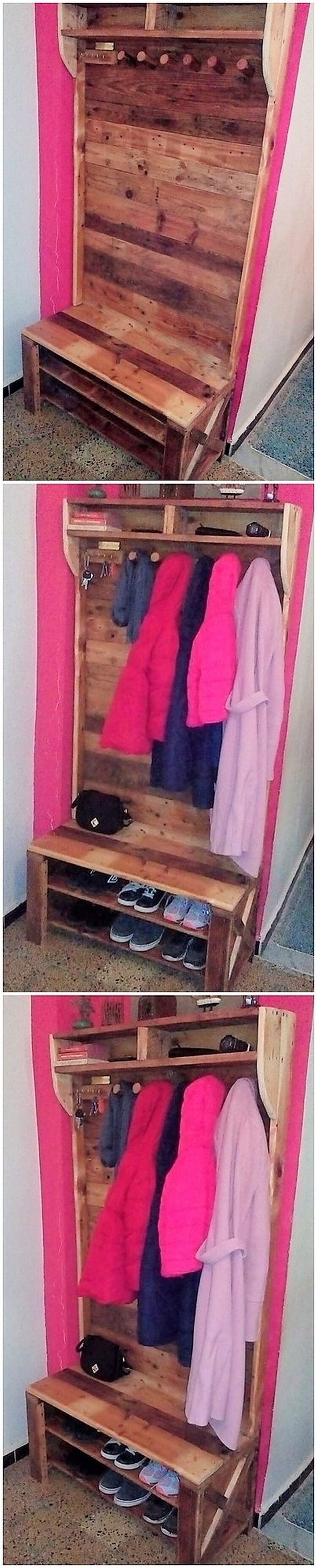 Pallet Closet with Shoe Rack