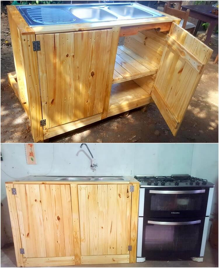 Pallet Kitchen Sink with Cabinet