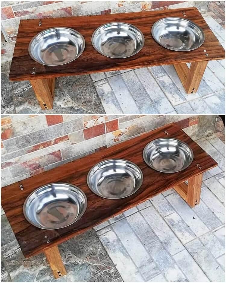 Pallet Pet Bowl Stand