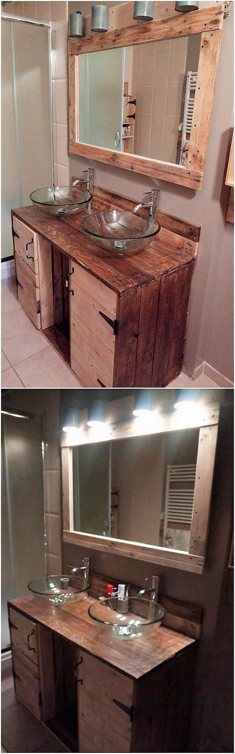 Pallet Sink and Mirror Frame with Lights