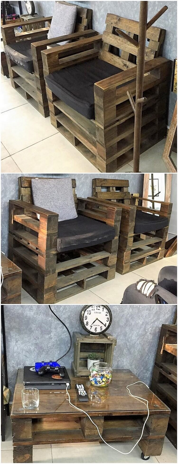 Wood Pallet Chairs and Table
