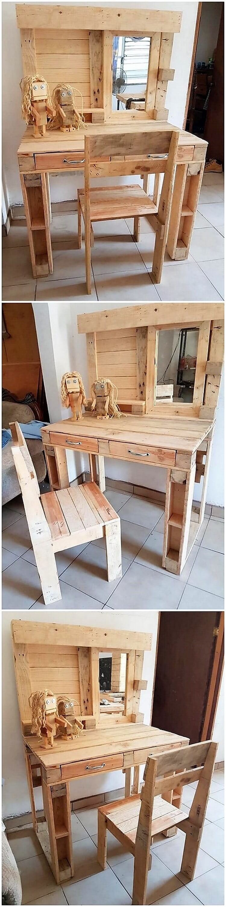 Pallet Dressing Table and Chair