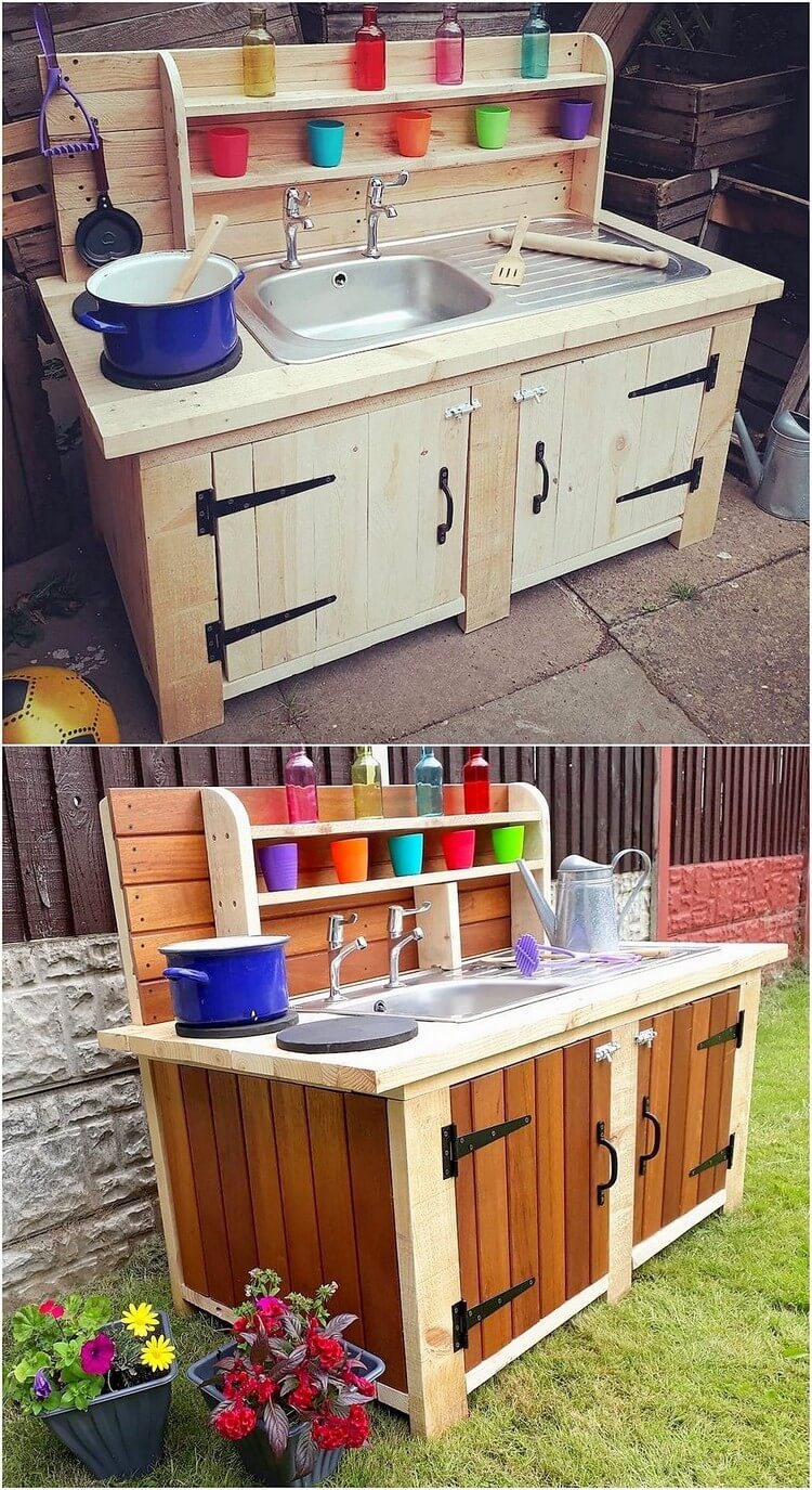 Pallet Potting Cabinet with Sink