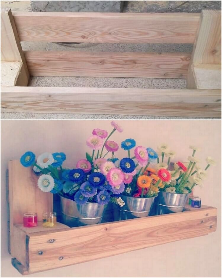 Pallet Wall Planter Pots Shelf