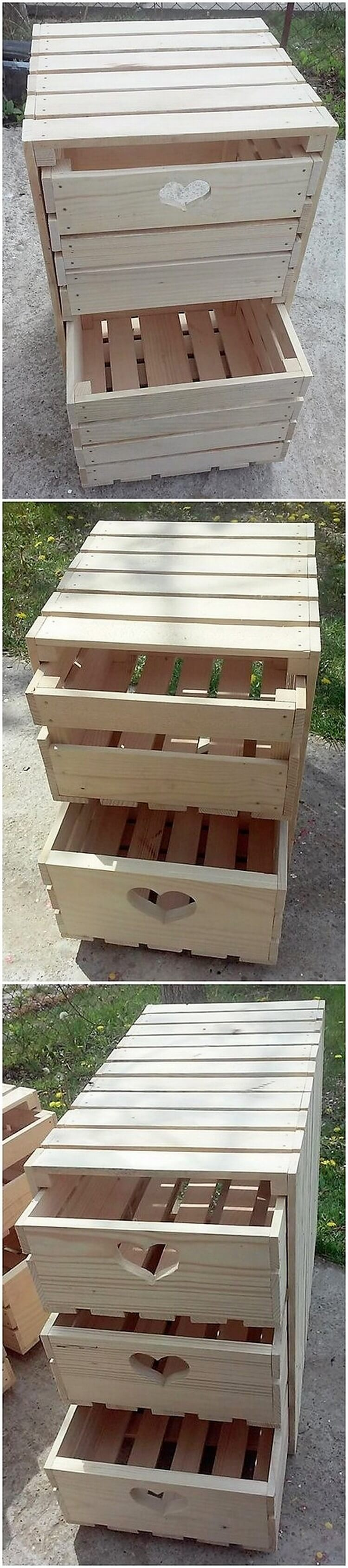 Wood Pallet Side Table with Drawers