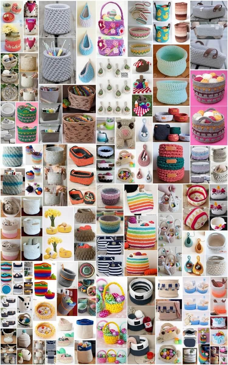 100 Free Crochet Basket Patterns for Beginners