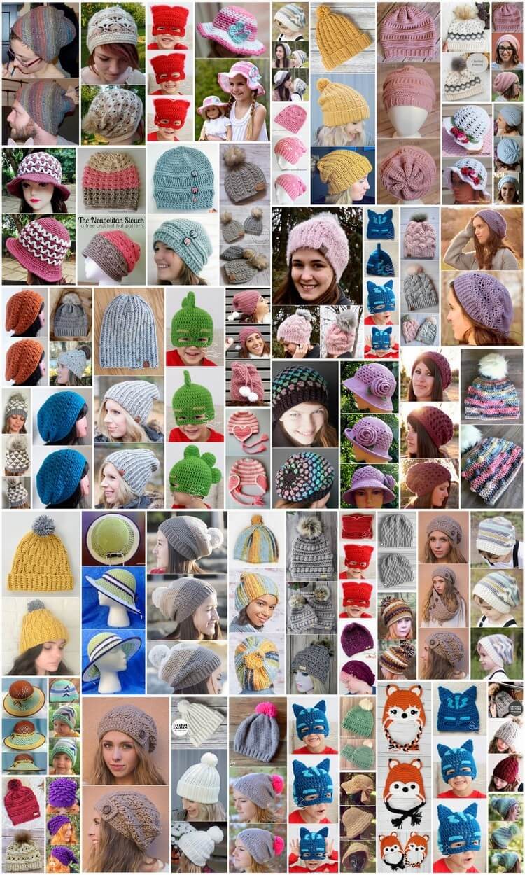 50 Beautiful and Easy Crochet Hat Free Patterns