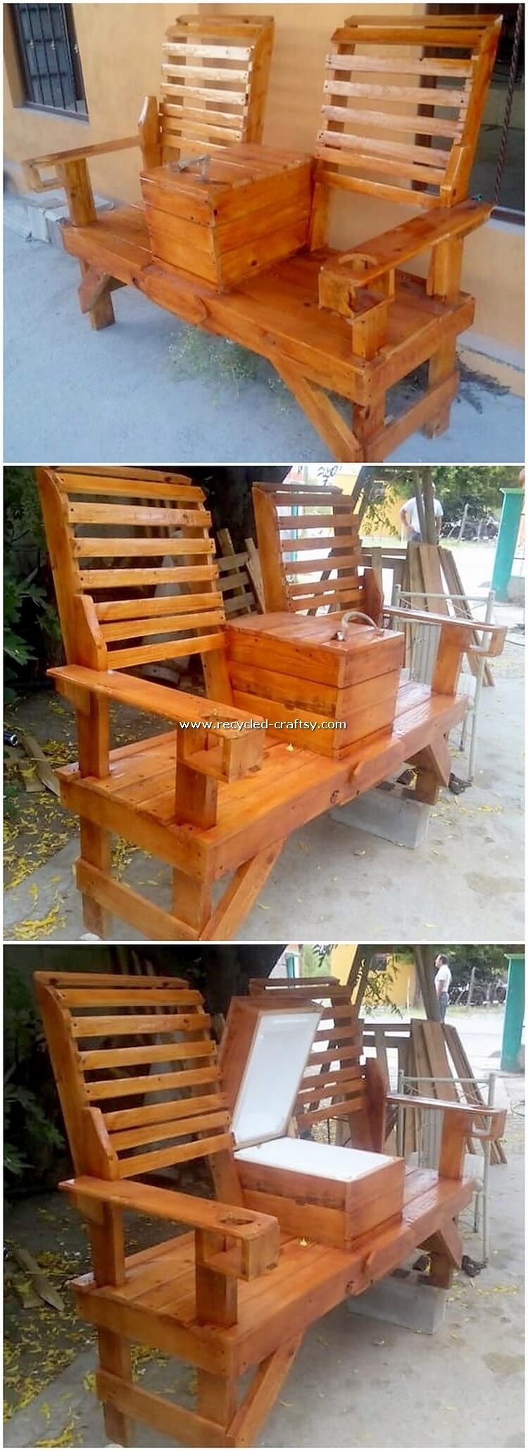 Pallet Bench with Center Table