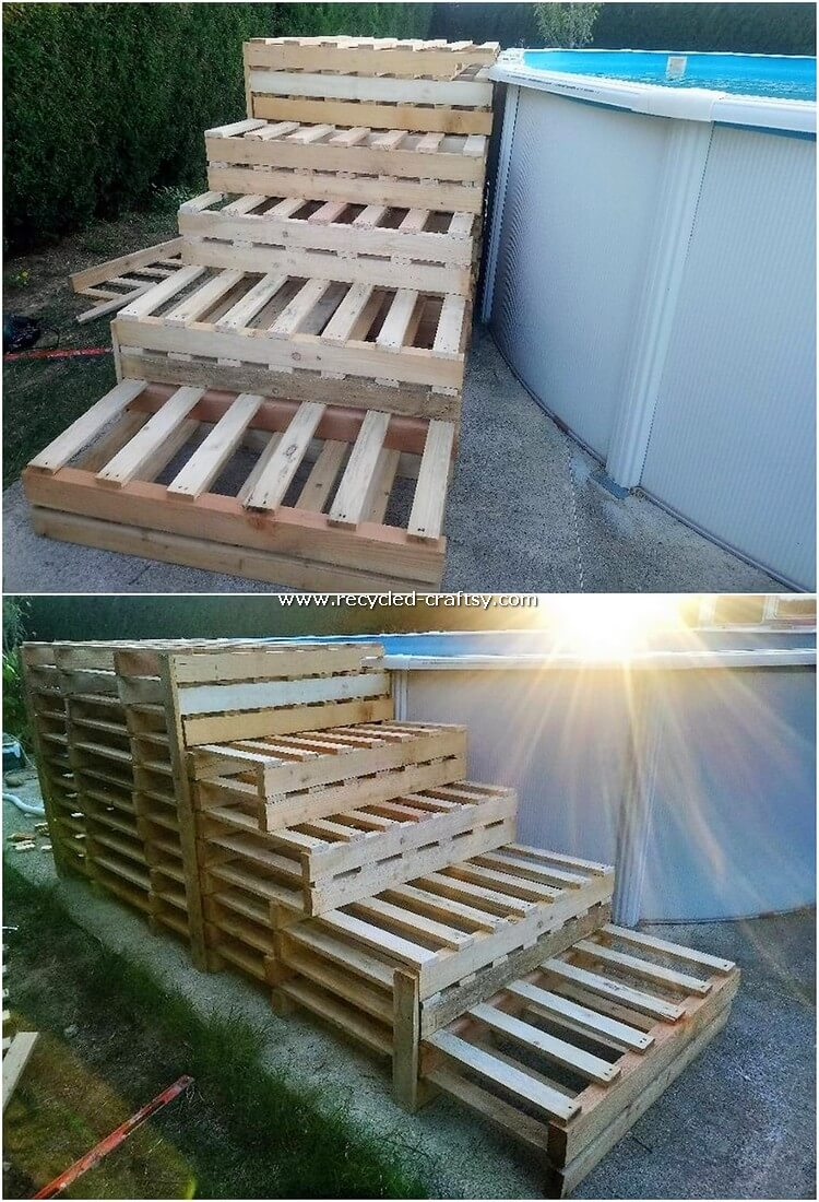 Pallet Swimming Pool Stairs