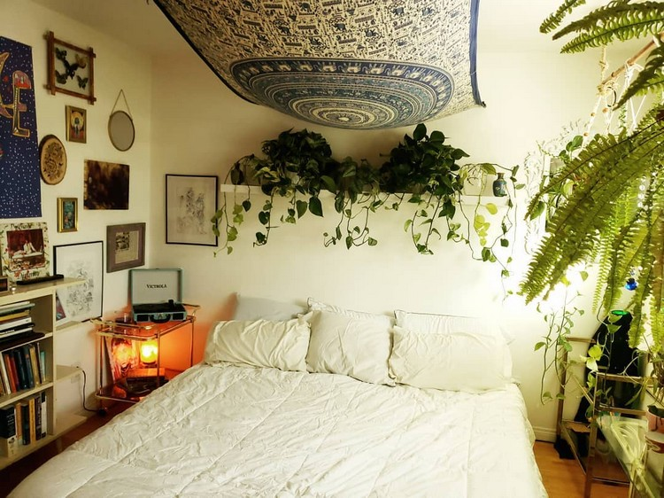 Bohemian Style Beautiful Bedroom Design (17)