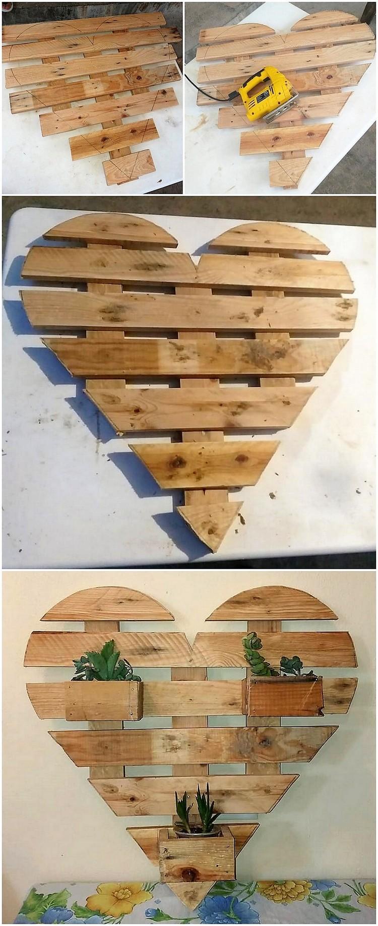 Heart Shape Pallet Planter