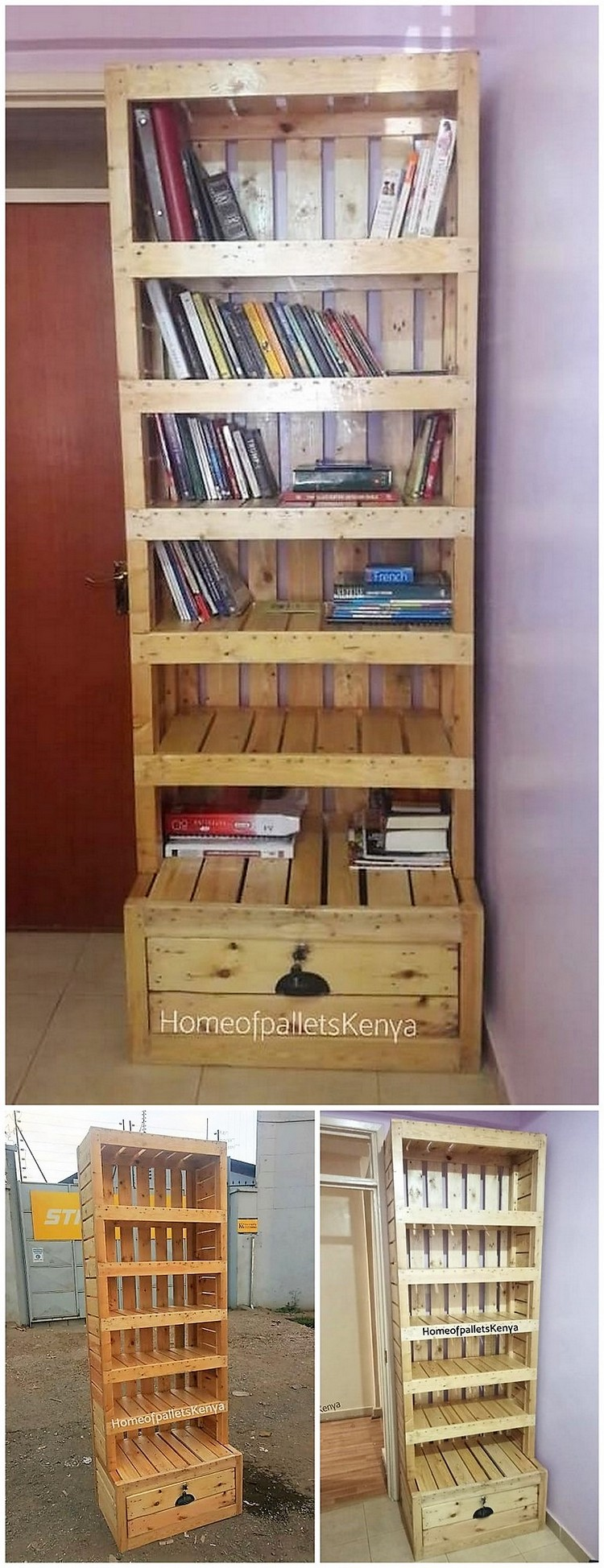 Pallet Bookshelving Cabinet with Drawer
