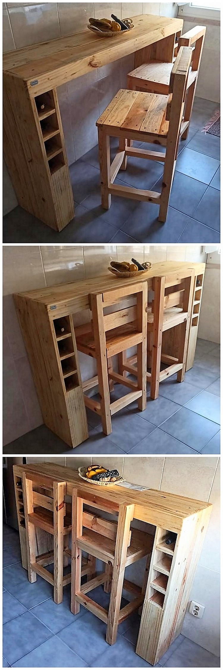 Pallet Desk Table and Chairs